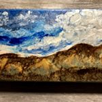 "Big Sky by: Heather Gaitonde, Enamel Paint on Wood, 12"" x 6"" ,$40"