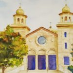Holy Trinity Greek Orthodox Church by: Colette Hughes, Watercolor, 12