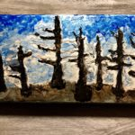 "Renewal by: Heather Gaitonde, Enamel Paint on Wood, 12"" x 6"" ,$40"