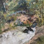 Waterfall at the Savannah Rapids Pavillion by: June Klement, Oil, 9