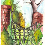 Gates by: Antonela Boyles,Watercolor and Ink on Paper, 5