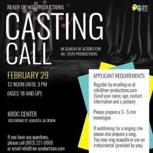 flyer for Ready or Not Productions casting call 2020