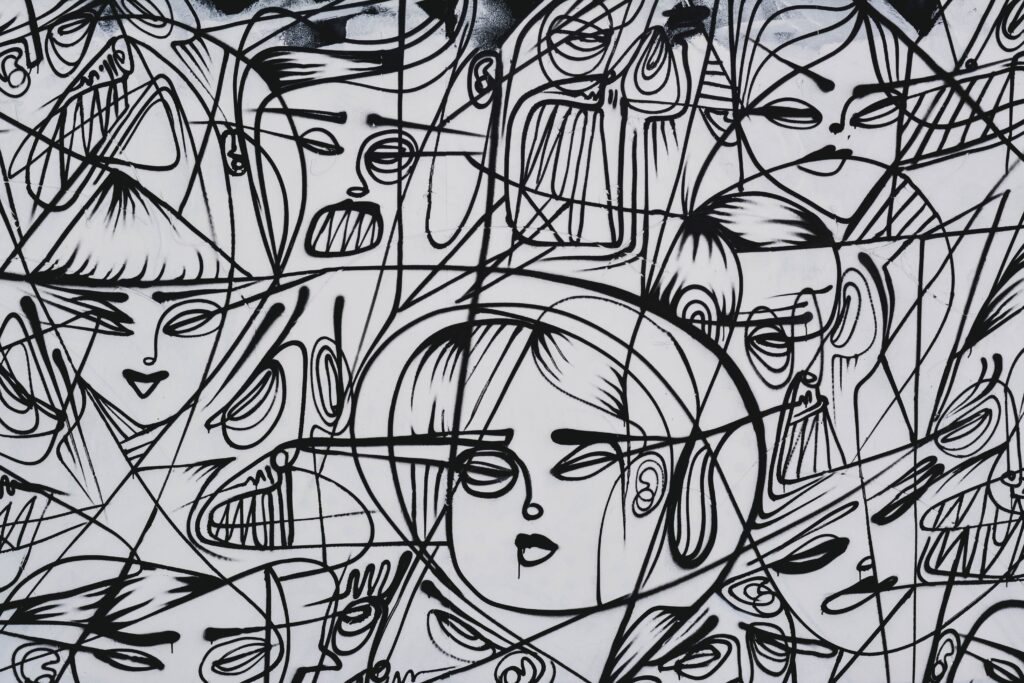 black and white line drawings