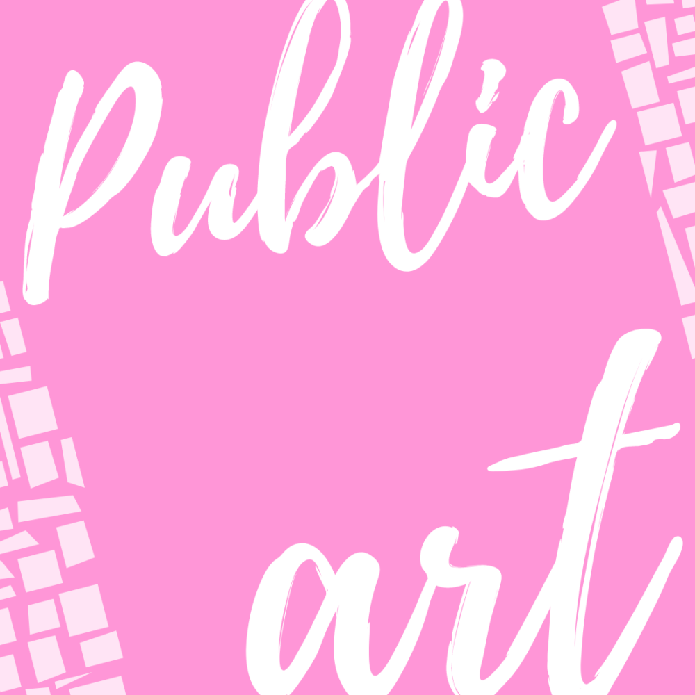 the words public art on a pink background